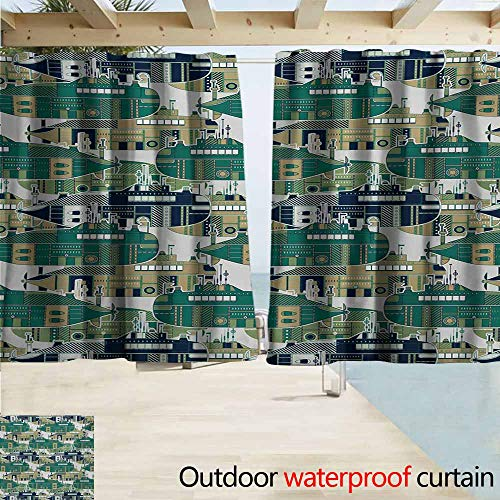 - AndyTours Rod Pocket Top Blackout Curtains/Drapes,Retro Old School Submarine Concept with Torpedoes Vintage Hand Drawn Squares Circles Image,Outdoor Privacy Porch Curtains,W72x45L Inches,Multicolor