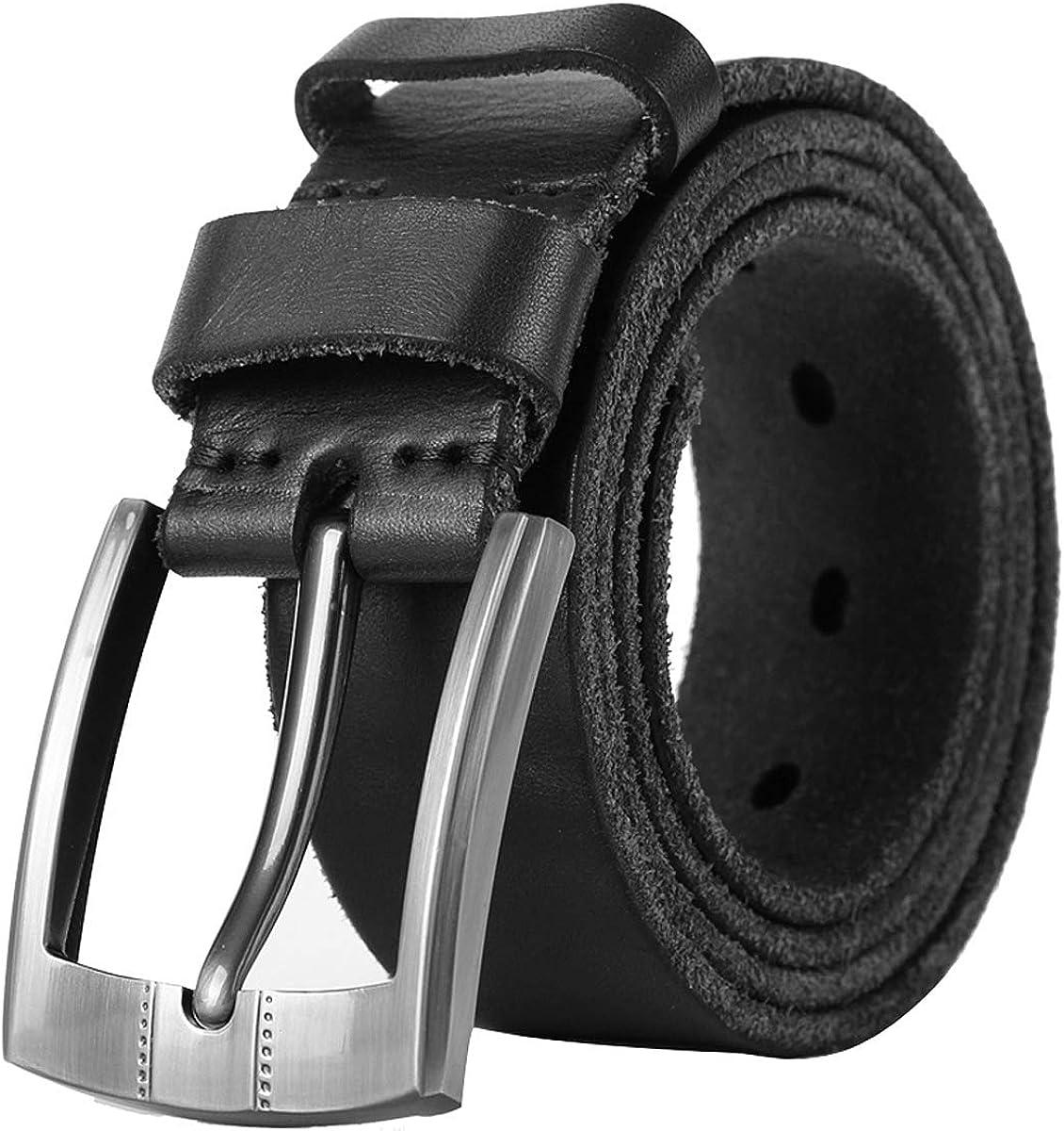 Leathario Cinturón Cuero Auténtico de Hebilla Giratoria Casual para Hombres