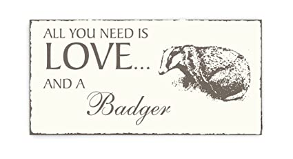 Placa decorativa, « All You Need is Love And A badger ...