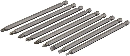 Silverline SB08 Coffret de 9 embouts de vissage super-longs 150 mm