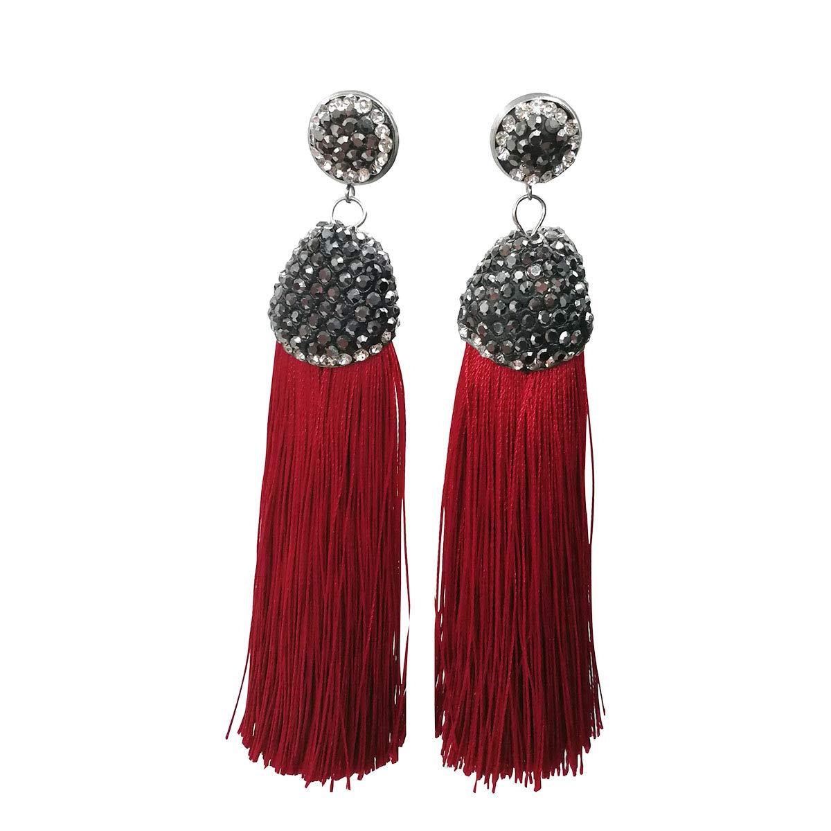 Karen accessories Dangle Drop Long Fringe Tassel Earrings with Black Rhinestone Top (Wine Red)