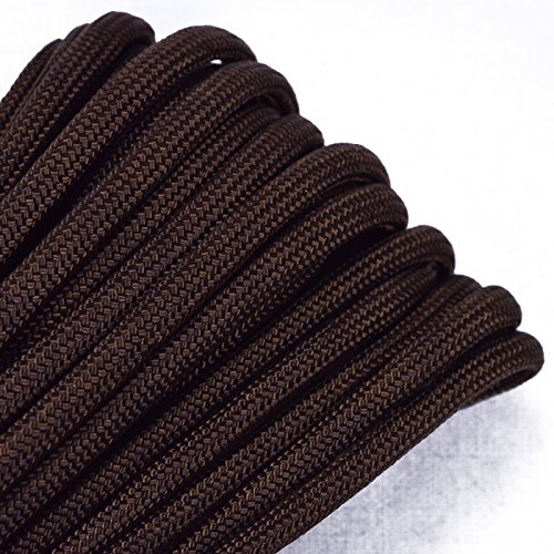 Bored Paracord - 1', 10', 25', 50', 100' Hanks & 250', 1000' Spools of Parachute 550 Cord Type III 7 Strand Paracord Well Over 300 Colors - Walnut - 25 Feet ()