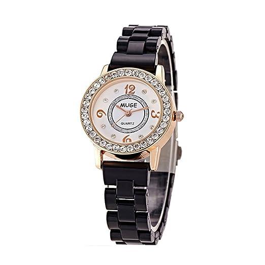 SBAO Urban mujeres moda cuarzo Digital Relojes Diamante Imitación cerámica por eflynova - negro: Amazon.es: Relojes
