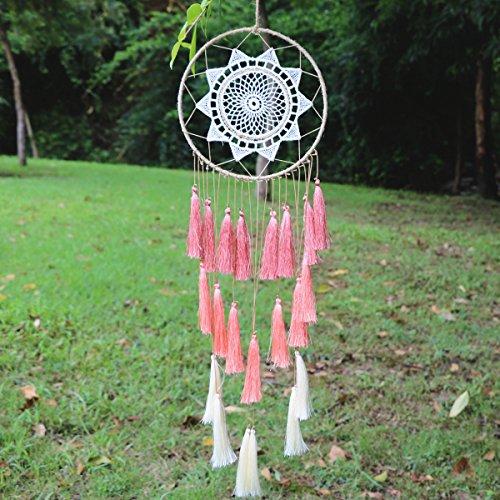 Dream Catcher ~ Handmade Traditional tassel Wall Hanging Home Decoration Decor Ornament Craft (White) (Hanging Ornament Tassel)