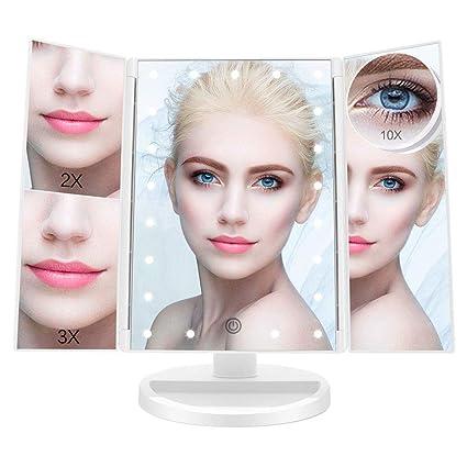 Specchi Professionali Per Trucco.Fascinate Specchio Trucco Specchio Per Trucco Illuminato Con 21 Led Luci Ingranditore 10x 3x 2x 1x Rotazione 180 Touch Screen Pieghevole Specchio