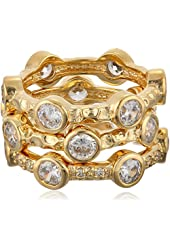 "Freida Rothman ""Classics"" Collection Gold-Plated Set of Three Starry Night Rings"