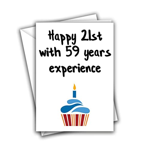 Happy 21st With 59 Years Experience 80th Funny Rude Birthday Greeting Card Amazoncouk Handmade
