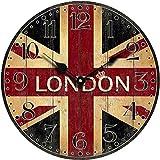 WINOMO Orologio da Parete Quarzo Silenzioso Vintage Colorato Bandiera Britannica 34cm