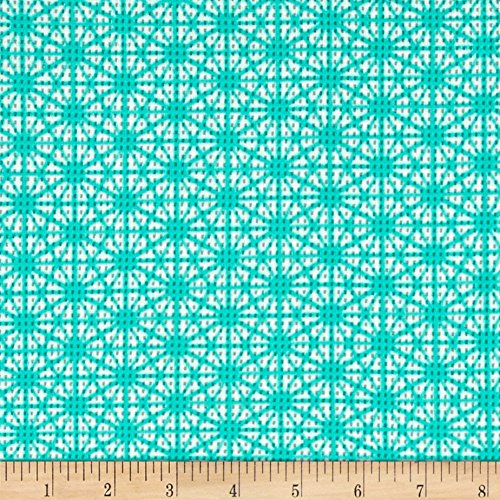 [Daisy Printed Pique Knit Aqua/Ivory Fabric By The Yard] (Pique Knit Fabric)