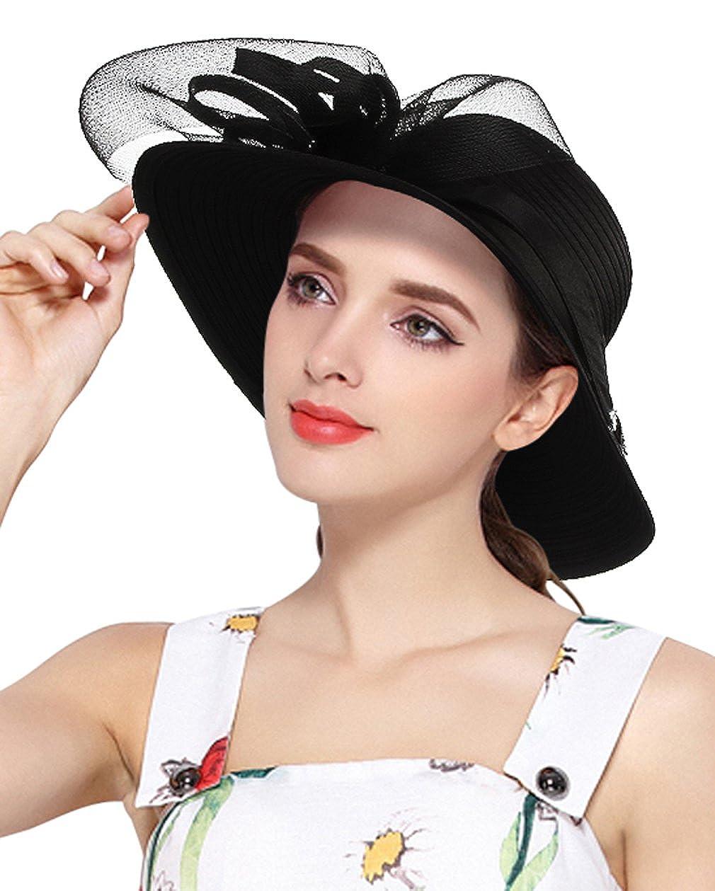 Amazon.com: Gemvie Womens Sun Straw Hat Wide Brim Bowknot Band Ribbon Bucket Hat Black: Clothing