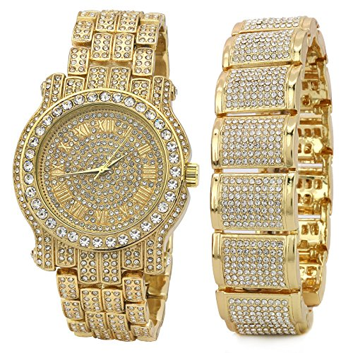 Men's 14k Gold Plated Metal Iced Out Hip Hop Fashion Fully Cz Watch & Bracelet Dome Wrist Link