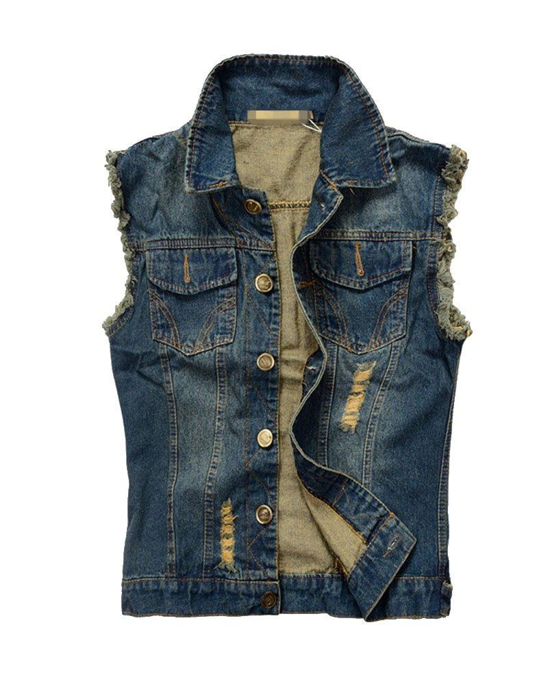 LaoZan Giacca Denim Uomo Jeans Denim Panciotto Senza Maniche della Maglia Gilet in Jeans