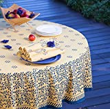 Attiser Yellow Provence Handmade Hand Screen Printed Tablecloth (70'' Round)