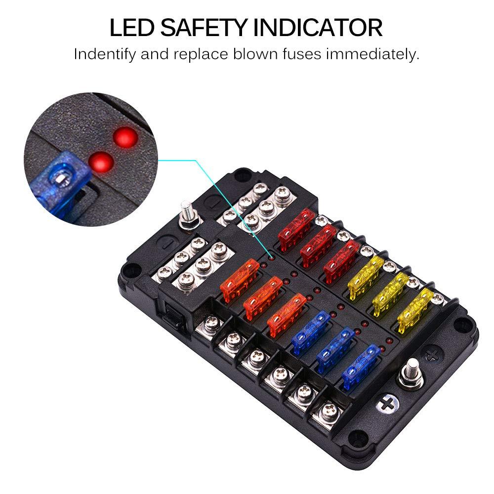 cami/ón furgoneta coche marina Caja de fusibles Fornorm con indicador LED con cubierta positiva y negativa y protectora para barco