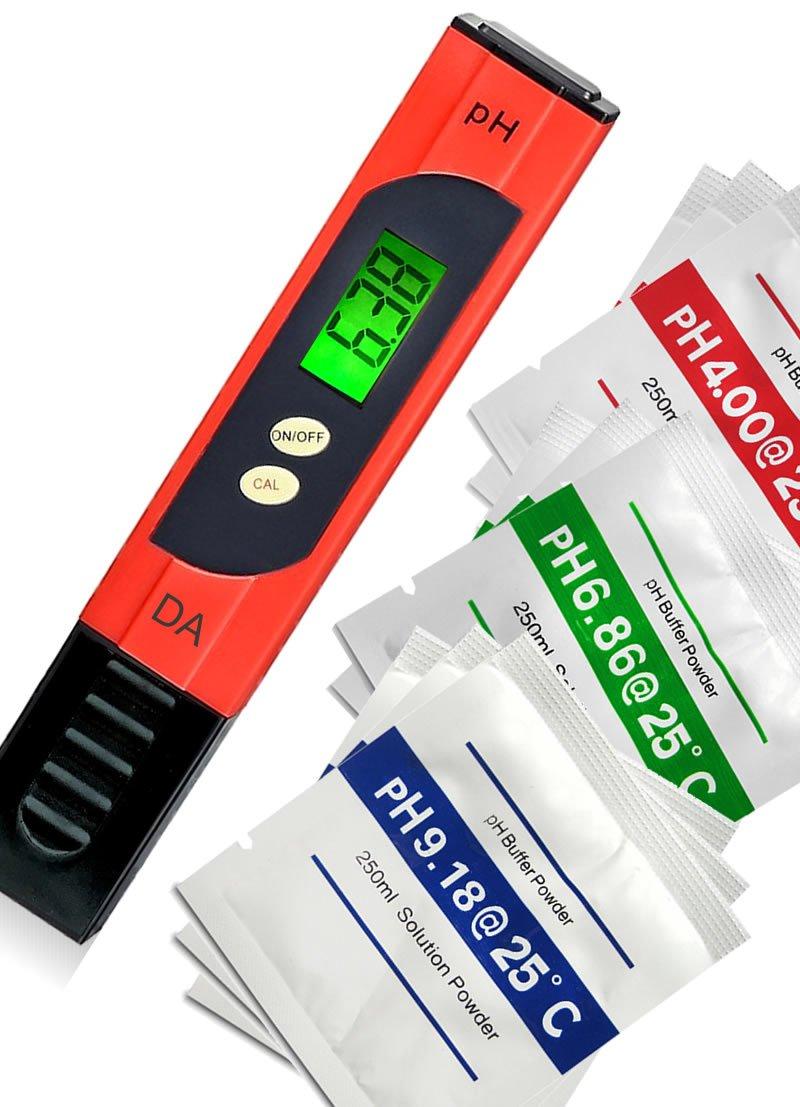 Digital Aid pH Meter. Professional Quality Water Test Meter by Large Backlit LCD Screen. Range 0.00 to 14.0 pH. 3 Free Buffer Solution Powders. Plus get 6 More - See Below. by Digital Aid