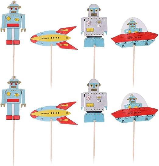 Amosfun 48 piezas de decoración para tarta de cumpleaños con diseño de robots espaciosos para cupcakes, decoración de tartas para cumpleaños, baby shower, decoración de tartas, suministros de fiesta: Amazon.es: Hogar