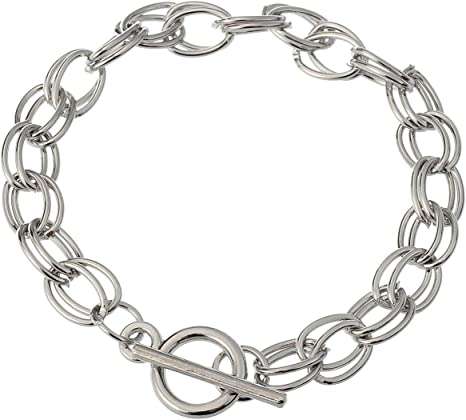 """12 Charm bracelet chain blanks 7.5/"""" with flower toggle clasp silver plated"""