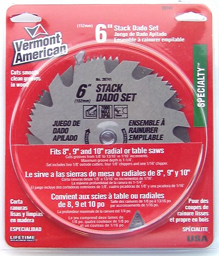 (Vermont American 26741 6-Inch Stacked Steel Dado with 5/8-Inch Arbor)