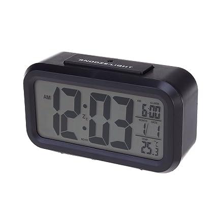 fb0dd0434ef102 PIXNOR sensore di luce bianca LED Backlight Display LCD digitale sveglia  elettronica con tempo calendario termometro Snooze (nero): Amazon.it:  Elettronica