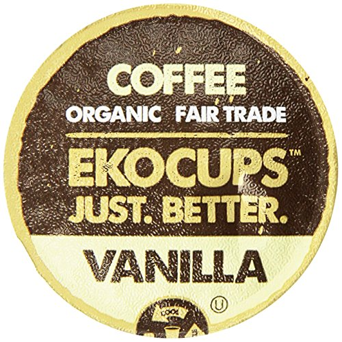 EKOCUPS Artisan Organic Vanilla Flavored Coffee, Medium roast, in Recyclable Single Serve CUps for the Keuirg K Cup Brewer, 40 (Organic Flavored Coffee)