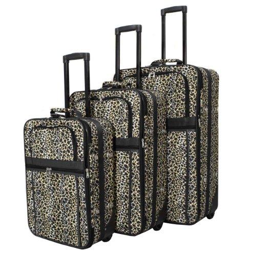 World Traveler Leopard Prinet 3 Piece Expandable Luggage (3 Piece Print Luggage Set)