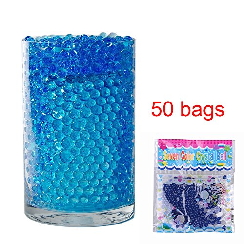 50 Bags Magic Water Gel Crystal Soil Beads Growing Jelly Ball Decoration Vase Filler - Transparent Reuseable Water Beads Gel (Blue)
