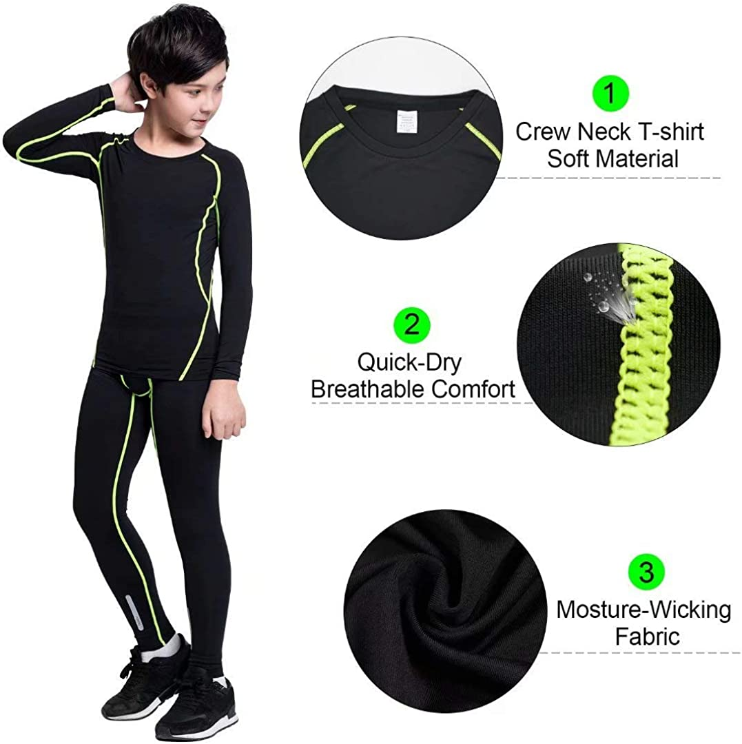 1//2//3//4 Pcs Athletic Compression Leggings and Shirts Base Layer Long Johns for Boys Witkey Boys Thermal Underwear Set