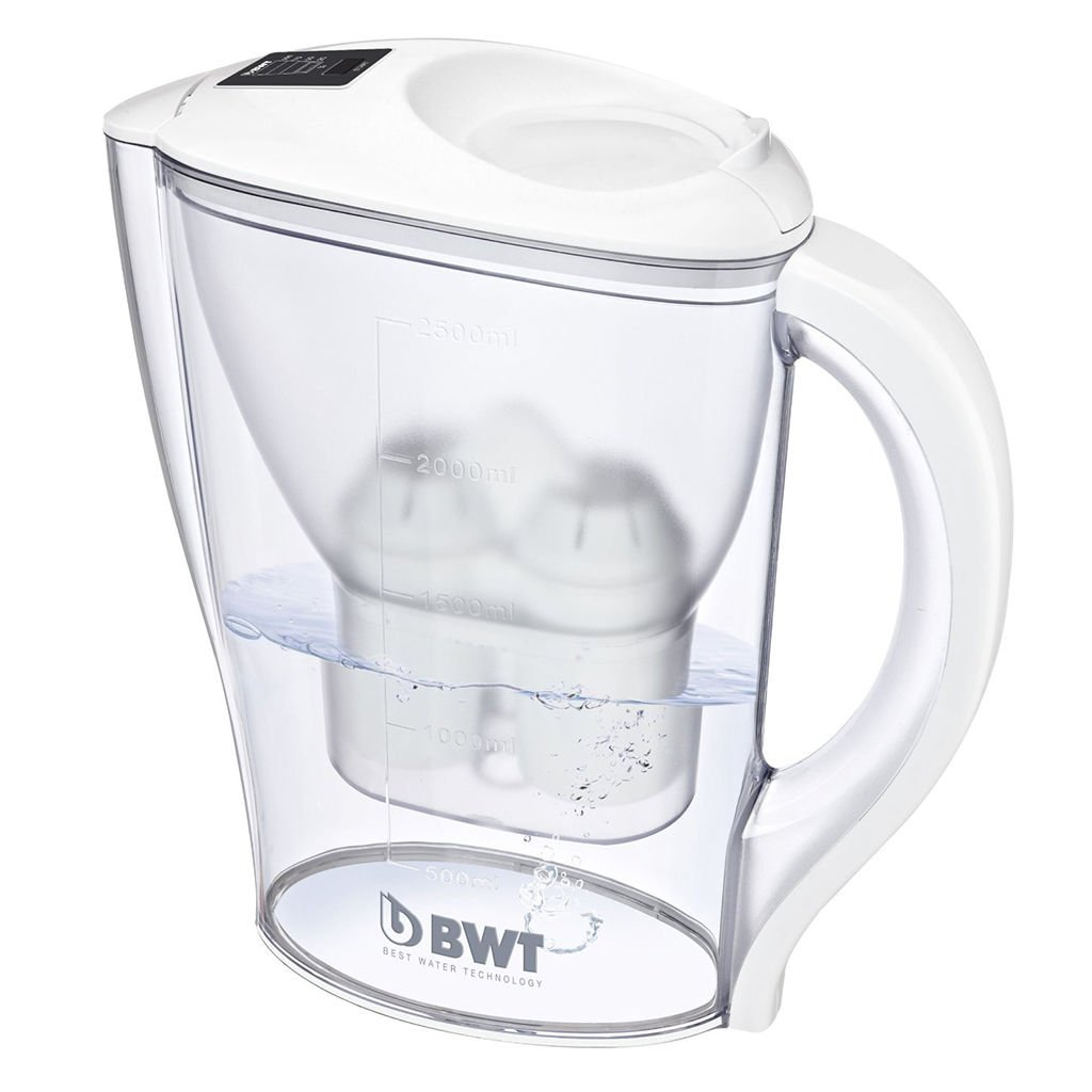 BWT 2.5 Litre Mineralised Water filter jug white EJUGWHT