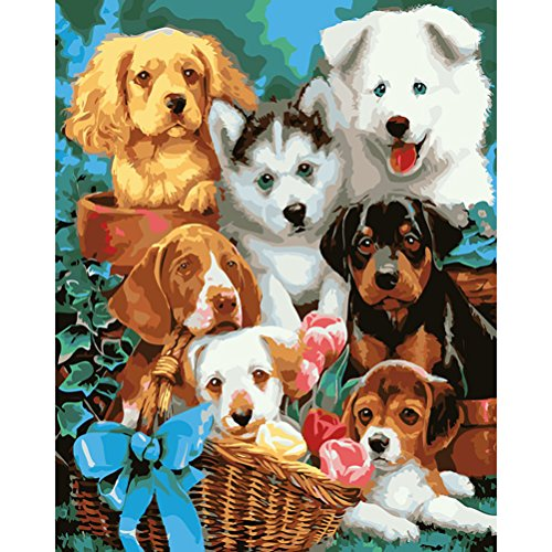 (DIY Oil Painting Paint by Numbers Kits for Adults Kids Beginner Golden Retriever Rottweiler Husky Samoyed Dog 16x20 inch(Wood Framed))