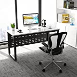 Computer Desk, Tribesigns 55'' Large Office Desk Study Writing Desk Workstation with Heavy Duty Metal Frame for Home Office, White+Black Legs