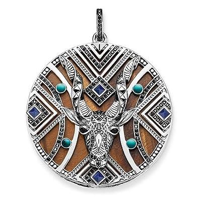 Thomas Sabo Africa Antelope Zirconia/Simulated Turquoise/Tiger's Eye/Simulated Lapis Lazuli Pendant aF8i4k
