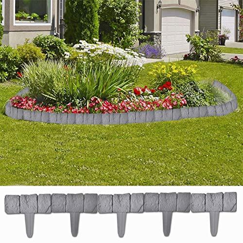 BLUECC Landscape Edging 41 pcs Plastic Stone Look Garden & Lawn Edging and Landscape ()