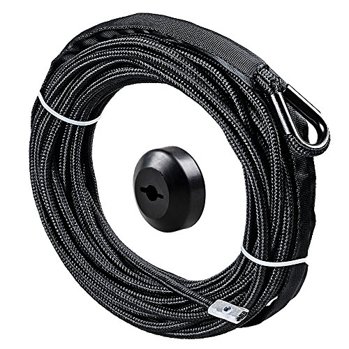 1/4 x 50' Synthetic Winch Line Cable Rope 7000+ LBs w/39' Rock Guard Sheath ATV UTV SUV Off-Road Ramsey (w/Stopper, Black)
