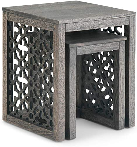 Simpli Home Polly Solid Mango Wood 17 inch wide Square Rustic Contemporary 2 Pc Nesting Table in Barnwood Brown, Fully Assembled, for the Living Room and Bedroom
