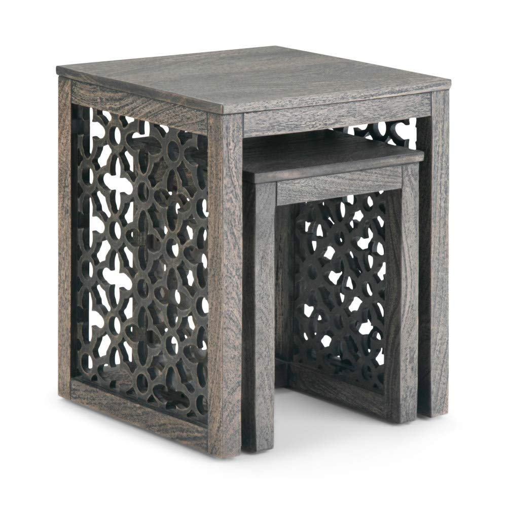 Simpli Home AXCPOL-06BR Polly Solid Mango Wood 17 inch Wide Square Rustic 2 Pc Nesting Table in Barnwood Brown, Fully Assembled by Simpli Home