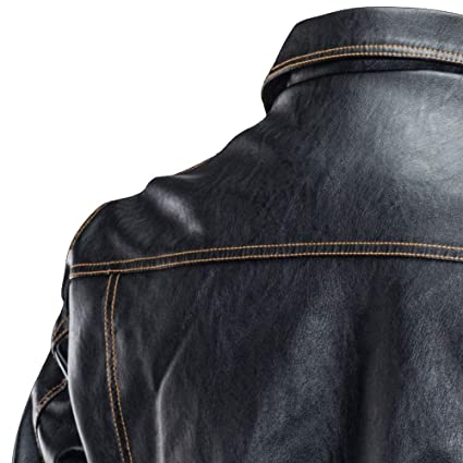 Tuu Mens Winter Leather Motorcycle Jacket Turndown Collar Button Outwear Coat Top Blouse at Amazon Mens Clothing store: