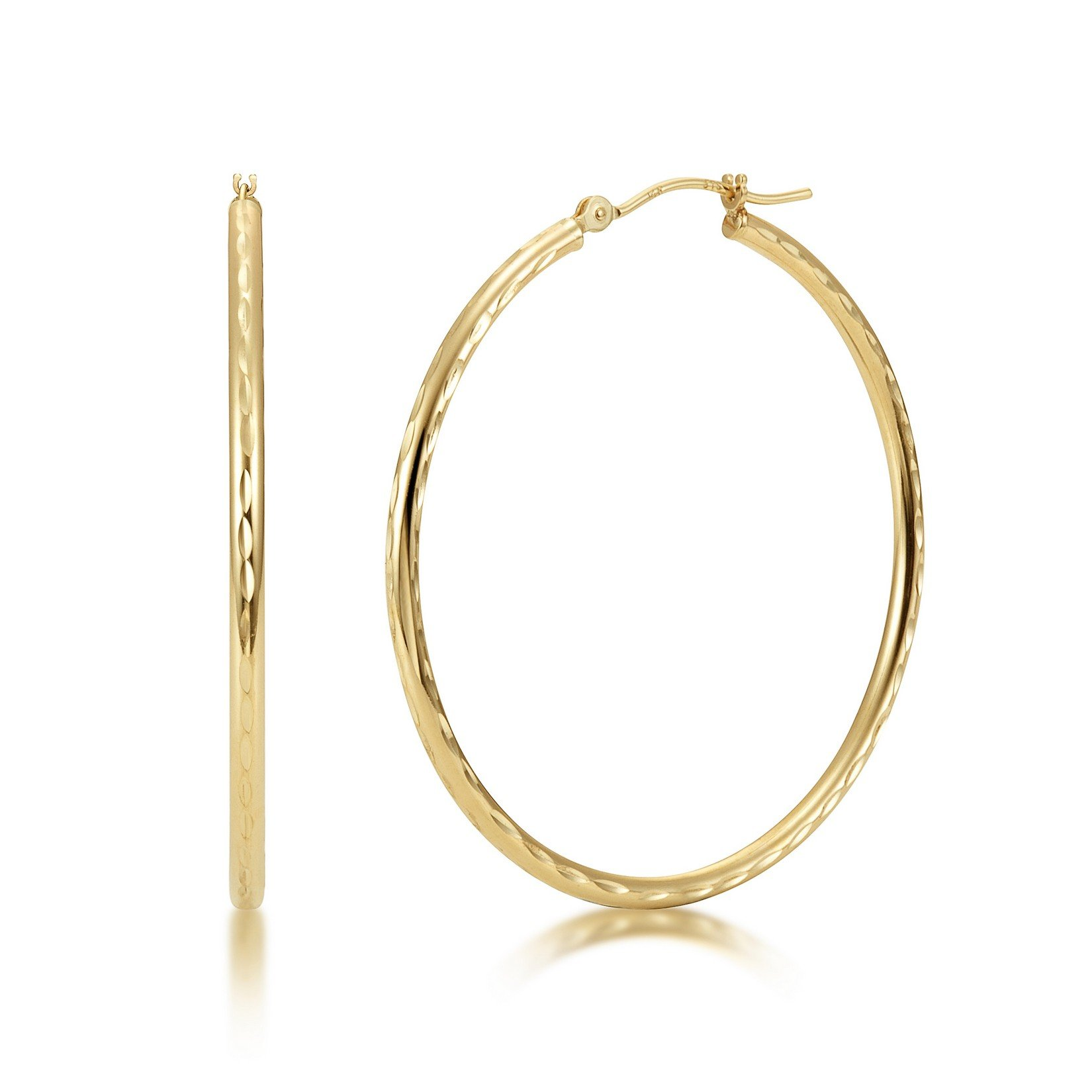 Full Diamond Cut 14k Yellow Gold 2mm x 40mm Click Top Tube Hoop Earrings - By Kezef Creations
