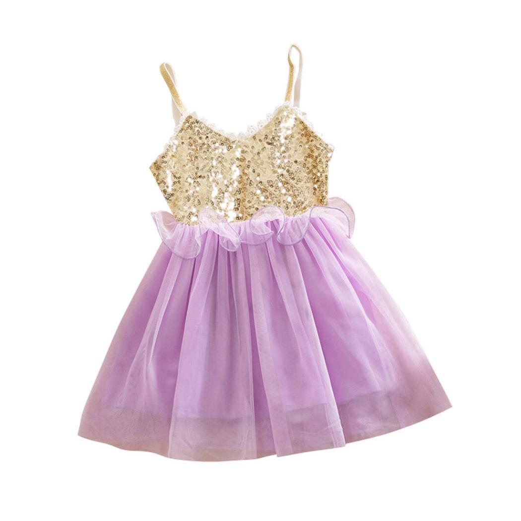 Manadlian Fille Robe de Princesse Fille, Princesse Sequins Toddler Tulle Lace Tutu Slip Dress Casual