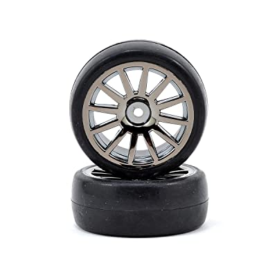 Slick Tires and 12-Spoke Black Chrome Wheels, Mounted (2): LaTrax Rally: Sports & Outdoors