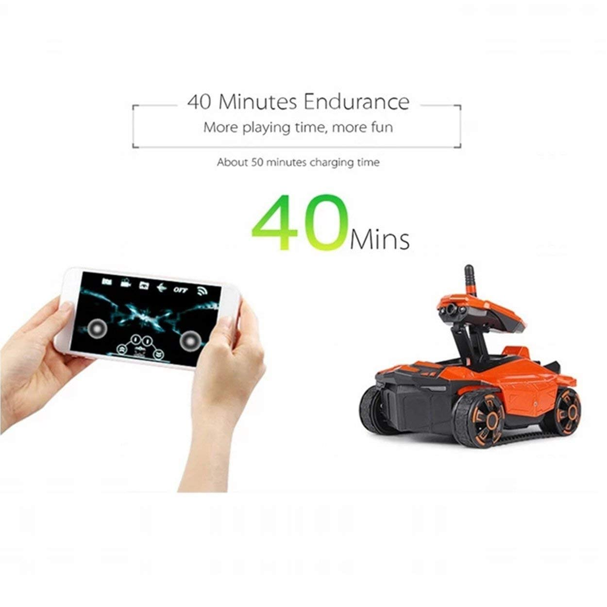 anyilon ATTOP Remote Control Tank with HD Camera YD-211S 2.4G Tank RC Toy Phone Controlled Robot Tank Childrens Toy