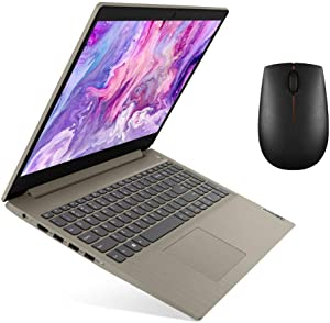 "Lenovo ideapad 15.6"" IPS Laptop, Intel Core 10th Gen i3-1005G1 Dual-Core Processor, 4GB Memory, 128GB Solid State Drive, Windows 10, Almond with Mouse[Renewed]"