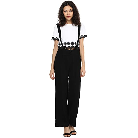 462e7a6f5366 109 F Women Black Solid Polyester Jumpsuit Without top  Amazon.in ...