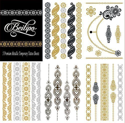 Beitipo Metallic Tattoos Temporary & Sexy, Jewelry Inspired for Shimmer Body Art Deluxe Kit Set, 5 Premium Sheets, Silver Gold & ()