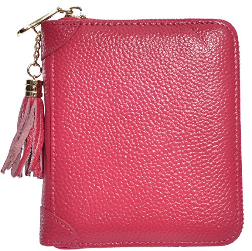 Easyoulife Womens Credit Card Holder Wallet Zip Leather Card Case RFID Blocking (Rose) by Easyoulife (Image #1)