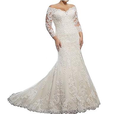 b97eac3cb96 Chady Elegant Off Shoulder Lace Mermaid Wedding Dresses 2018 Long Sleeves  V-Neck Wedding Dresses Plus Size Bridal Gowns at Amazon Women s Clothing  store
