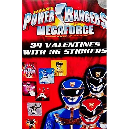 Power Rangers Megaforce 34 Valentines Day Cards with 35 Stickers - Classroom Valentine's Day Exchange Sales