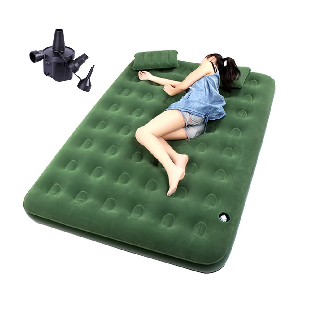 Brilliant firm Doppeltes Luftbett des grünen aufblasbaren Betts des Großen aufblasbaren im Freien Siesta-Bett mit Luftpumpe