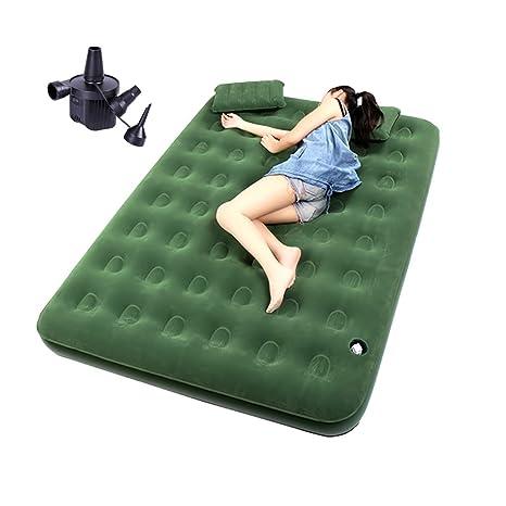 Saco de Dormir Colchón de Aire Cama Inflable Gruesa Verde al Aire Libre de la Cama