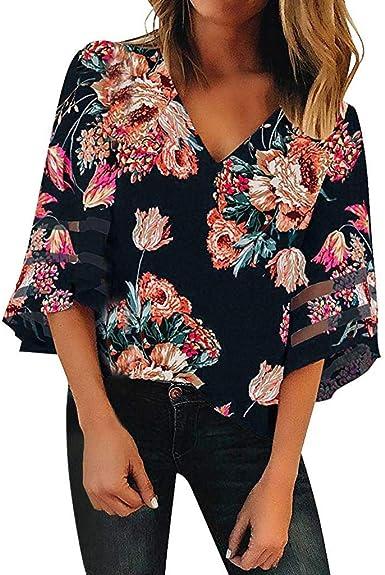 Camisetas Mujer Tallas Grandes SHOBDW Verano Playa Casual ...