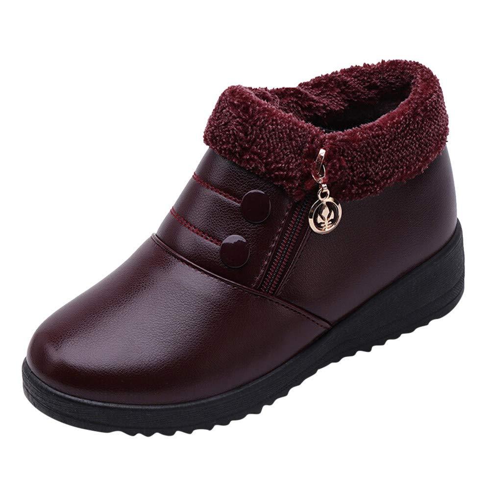 LANSKIRT _ Chaussures femme Bottes Femme Mode, Chaussures en Cuir Chaud Bottines à Talon Bas Bottines Plates antidérapantes Chaussures Bottines Plates à Fermeture à glissière